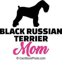 orosz, árnykép, terrier, anyu, fekete