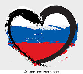 orosz, szív alakzat, lobogó