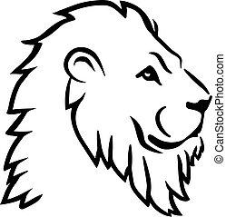 oroszlán, fej, lejtő