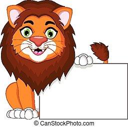 oroszlán, tiszta, karikatúra, aláír