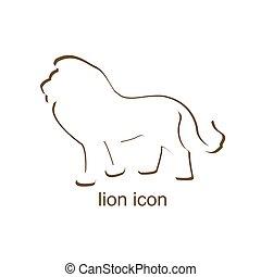 oroszlán, white háttér, ikon