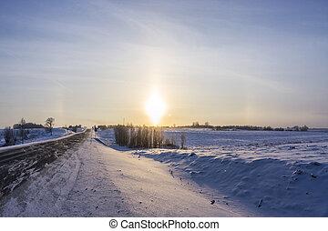 oroszország, tél, karelia, dicsfénnyel övezni
