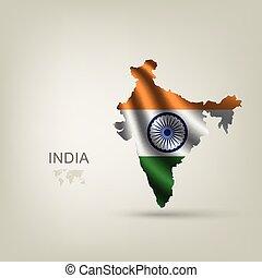 ország, lobogó, india