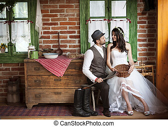 ország, mód, lovász, esküvő, menyasszony