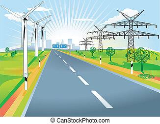 ország, windmills, út, hadifogoly