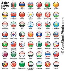 ország, zászlók, ázsiai