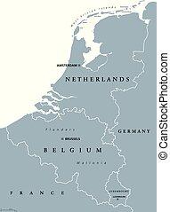 országok, benelux-, szürke, politikai, térkép