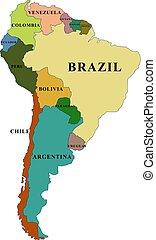 országok, címek, déli, vektor, térkép, amerika