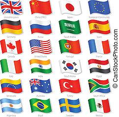 országok, tető, vektor, zászlók, világ, nemzeti