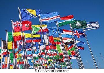 országok, világ, zászlók, mindenfelé