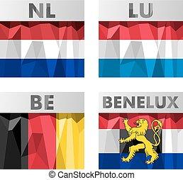 országok, zászlók, benelux-