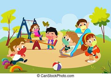 országos járvány, játszótér, játék, gyerekek, ábra, közben