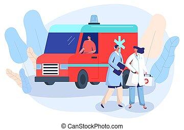 orvos, ápoló, jármű, vektor, segély, ábra, először, mentőautó, autó