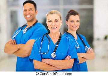 orvos, ólmozás, orvosi, női, befog, idősebb ember