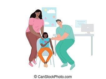 orvos, appointment., vaccinating, nő, gyermek, patient.