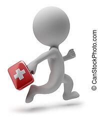orvos, emberek, -, futás, kicsi, 3