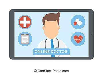 orvos., konzultáció, orvosi, online