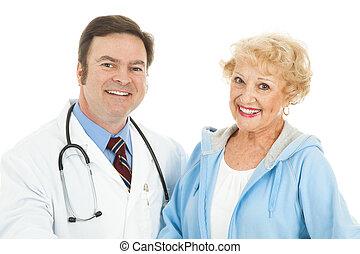 orvos, neki, senior woman