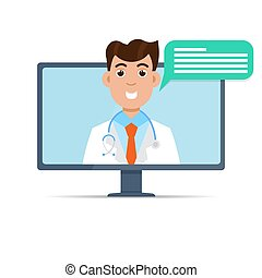orvos, orvosi, service., online, egészség, konzultáció, internet
