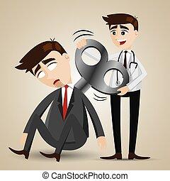 orvos, robot, feláll, üzletember, karikatúra, felteker