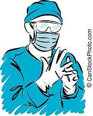 orvos, vektor, maszk, orvosi, pár kesztyű, ábra