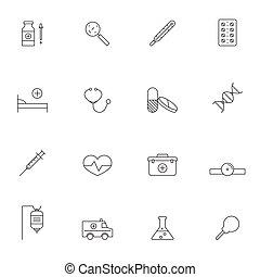 orvosi, állhatatos, áttekintés, ábra, ikon
