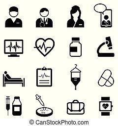 orvosi, állhatatos, egészség, ikon, healthcare