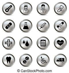 orvosi, állhatatos, ezüst, ikonok