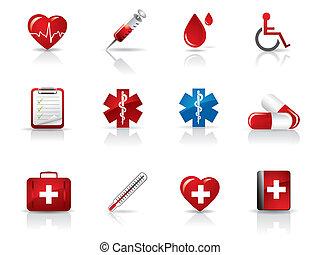 orvosi, állhatatos, kórház, ikonok