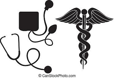 orvosi, árnykép, aláír