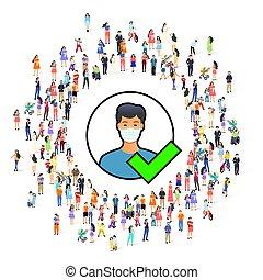 orvosi, access., maszk, emberek, elismert, jelkép
