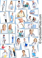 orvosi, collage., csoport, orvosok