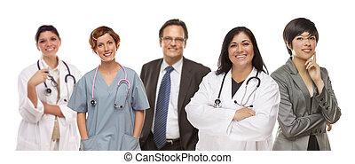 orvosi, csoport, fehér, ügy emberek