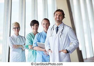 orvosi, csoport, kórház támasz