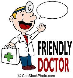 orvosi doktor, barátságos, birtok, felszerelés