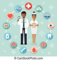 orvosi doktor, kórház, ikonok