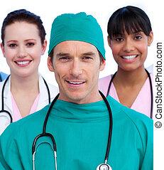 orvosi, egyesült, sportcsapat portré