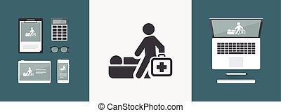 orvosi, elszigetelt, ábra, egyedülálló, vektor, ikon