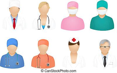 orvosi, emberek, ikonok