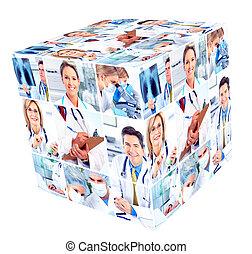 orvosi, group., emberek
