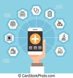 orvosi, hálózat, furfangos, orvosság, online, fogalom, befolyás, kéz, ikonok, telefon, alkalmazás, bánásmód, társadalmi