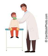 orvosi, kevés, vizsga, lát, child., orvos, otolaryngologist, türelmes