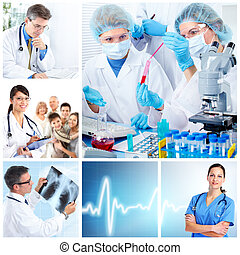 orvosi, laboratory., orvosok, collage.