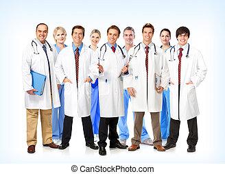 orvosi, mosolygós, team., orvosok