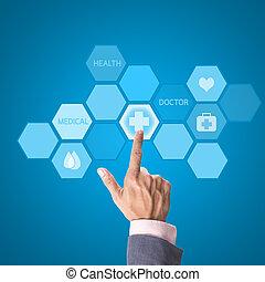 orvosi, orvosság, határfelület, kéz, számítógép, dolgozó, fogalom, orvos, modern