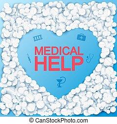 orvosi, segítség, háttér