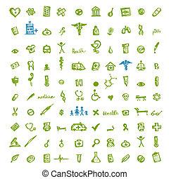 orvosi, tervezés, -e, ikonok