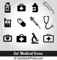orvosi, vektor, állhatatos, ikonok