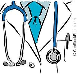 orvosi, vektor, illustration., orvos