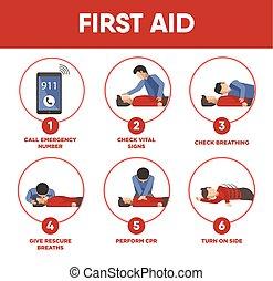 orvosi, vektor, utasítás, segély, ikonok, először, infographics